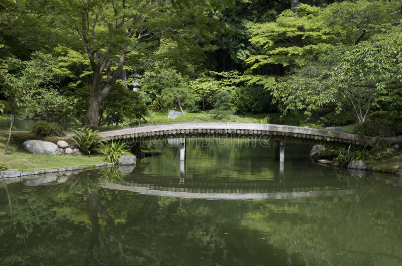 Japanese Garden With Pond And Bridge Stock Image - Image of ...