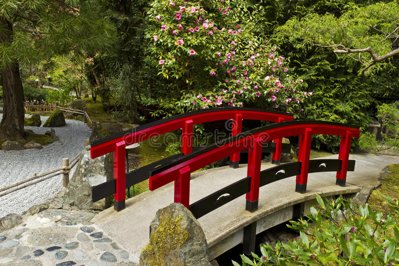 Download Japanese Garden With Red Bridge Stock Image - Image: 24544431