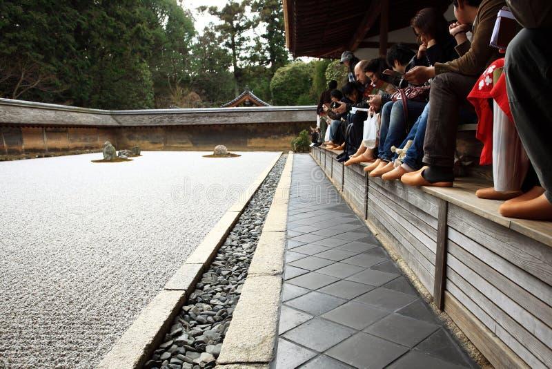 Japanese garden, Ryoan-ji Temple stock photography