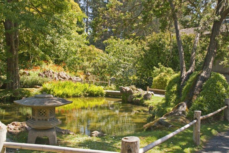 Japanese Garden With Stone Lantern Stock Images