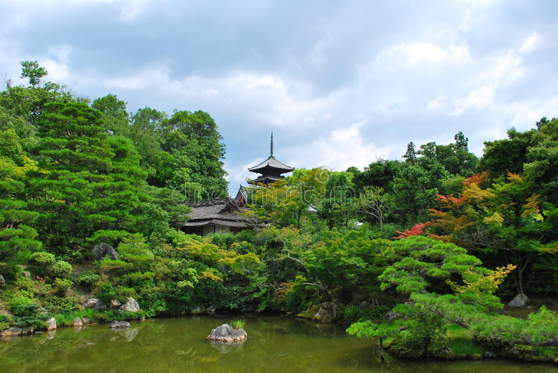 Download Japanese Garden With Temple Stock Photo - Image: 9014376