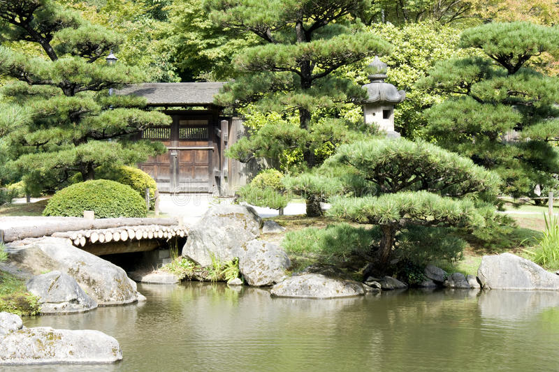Download Japanese Garden With A Traditional Gate Stock Image - Image: 26345297