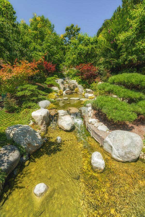 Waterfall in traditional Japanese zen garden. Japanese garden waterfall. Water flows around stones in flowing river stock images