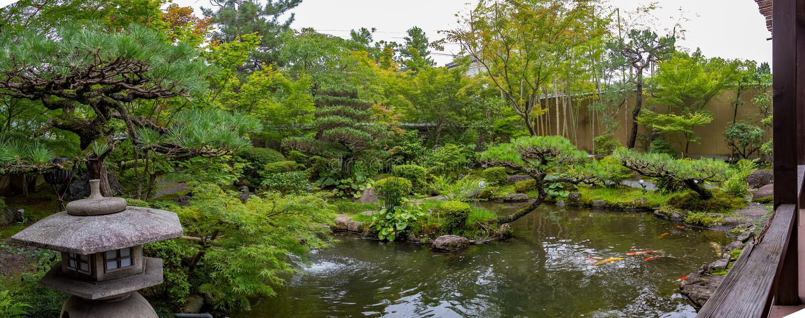 Japanese Garden Wide View stock images