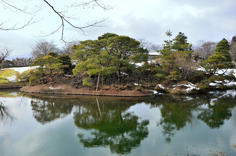 Japanese garden in winter, Kyoto Japan. Picture of winter landscape of old Japanese garden in Kyoto Japan stock photo