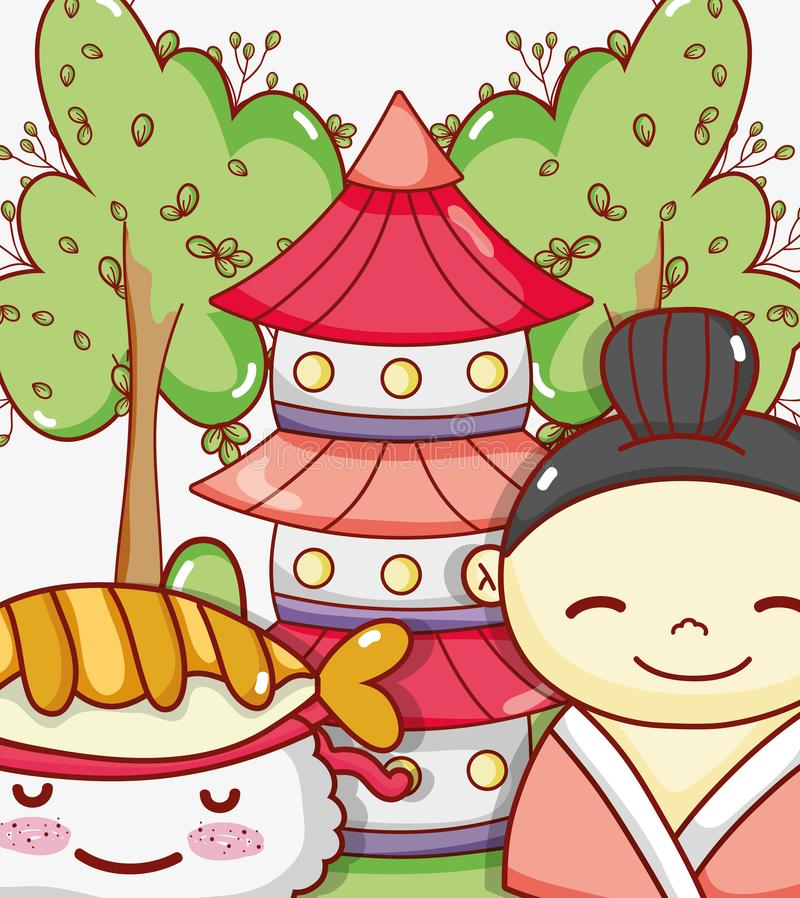 Japanese gastronomy cute kawaii cartoons stock illustration
