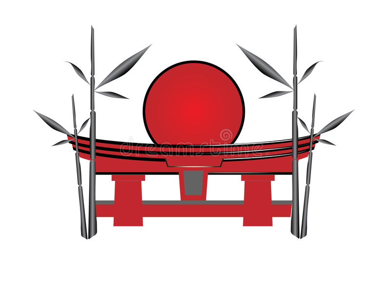 Japanese gate the sun and a bamboo royalty free illustration