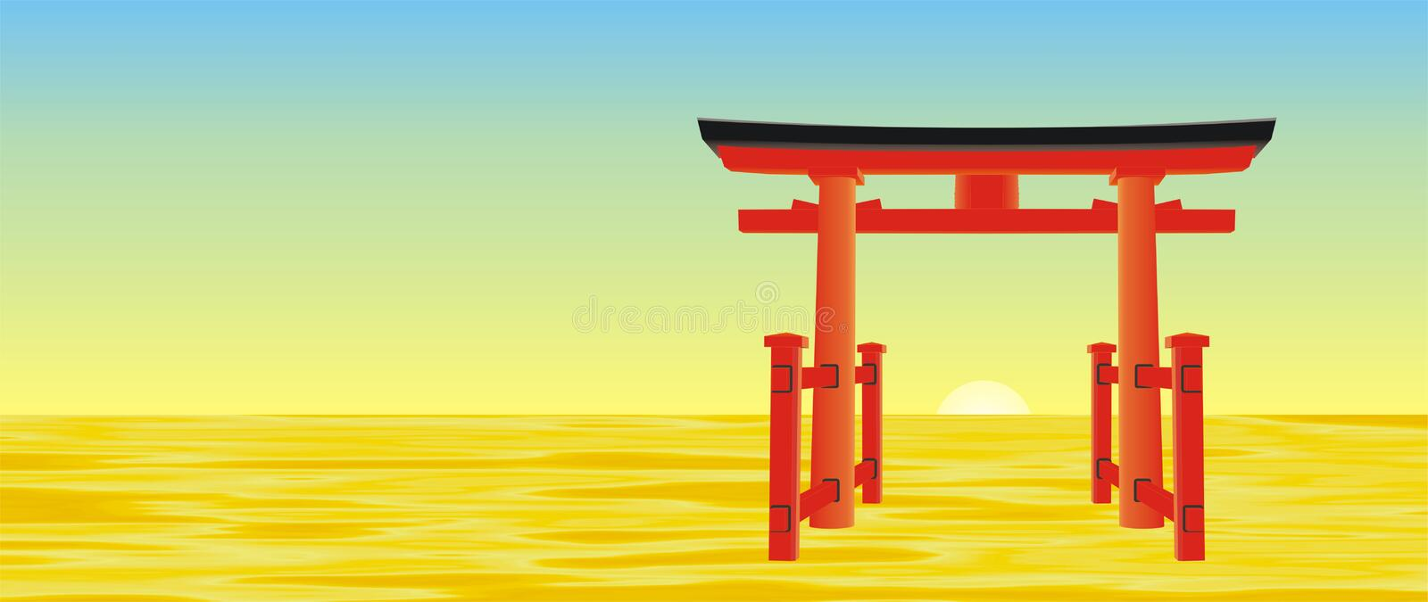 Japanese gate vector royalty free stock images