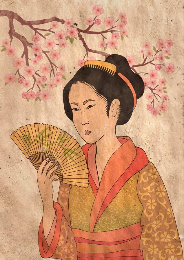 Japanese geisha vector illustration