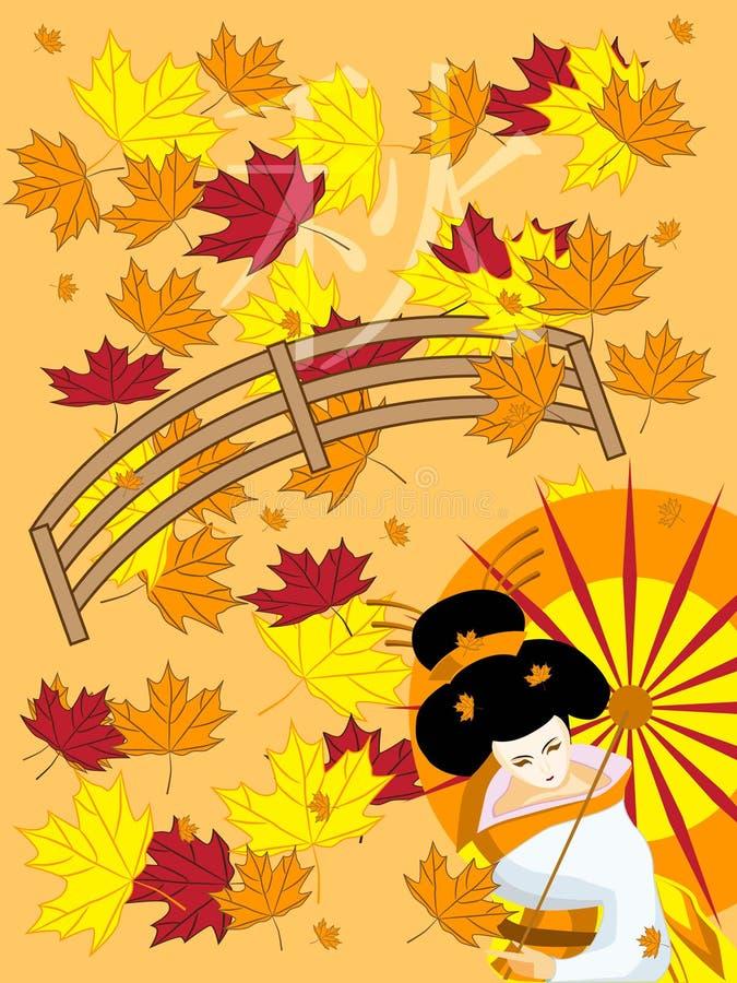 Japanese geisha in autumn royalty free illustration
