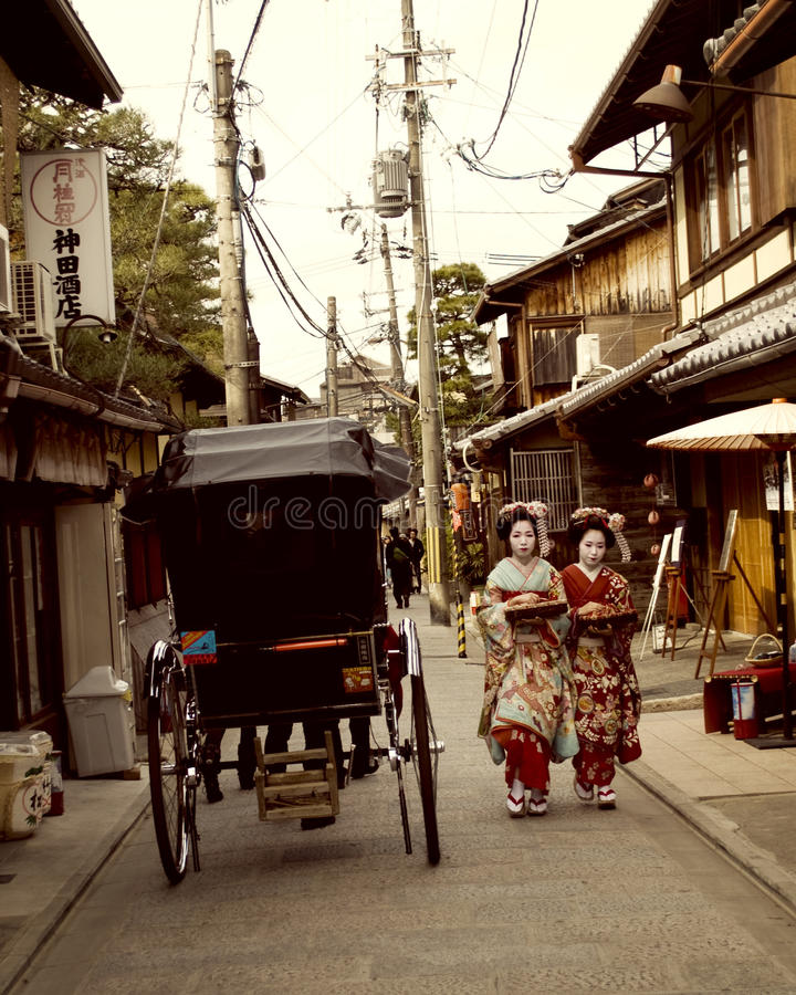 Japanese Geisha Girls or Maiko Girls in Kyoto royalty free stock photography