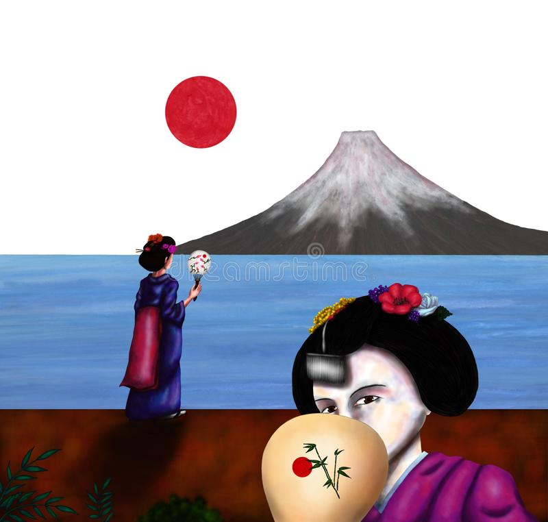Japanese Geisha girls standing in front of the Fuji Mountain The Spirit of Asia II, 2018. An abstract colorful watercolor painting illustration of a young vector illustration