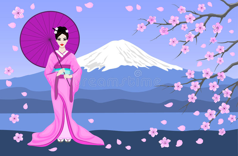 Japanese Geisha With Mountain Fuji and Sakura Branches vector illustration
