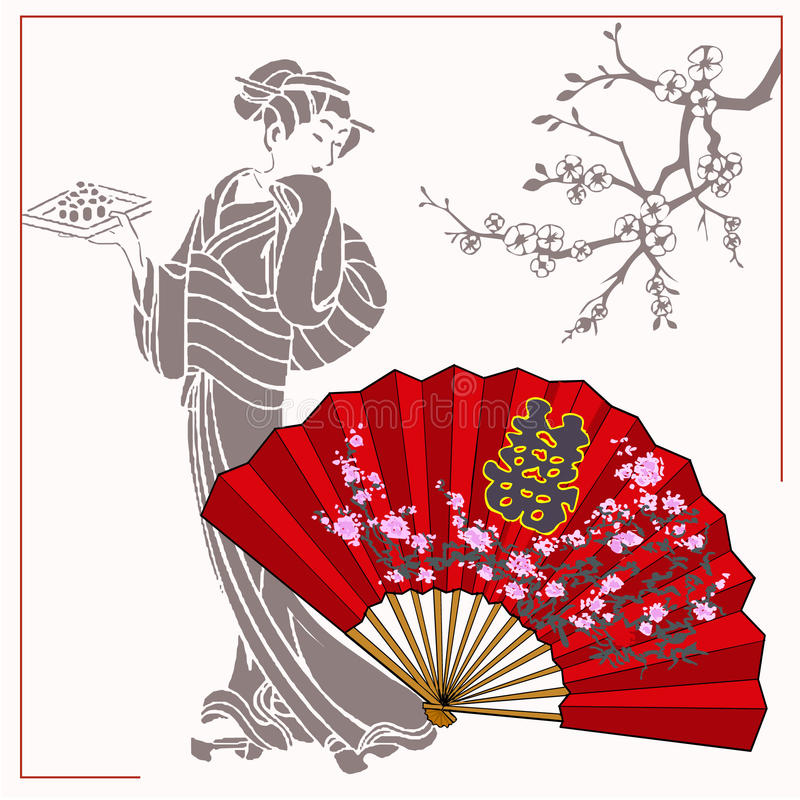 Japanese geisha with a plate of rolls in his hand. Opened fan with flowers. royalty free illustration