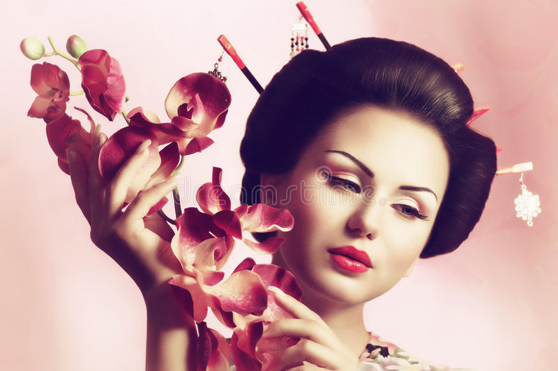 Japanese Geisha woman. Portrait of a Japanese Geisha woman stock photography