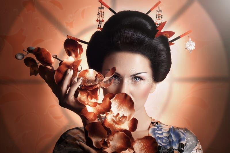 Japanese geisha woman. Portrait of a Japanese geisha woman royalty free stock images