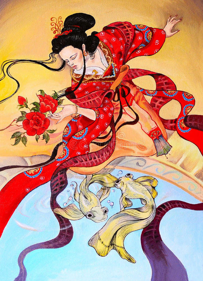 Japanese geisha woman in red kimono, art oil painting vector illustration