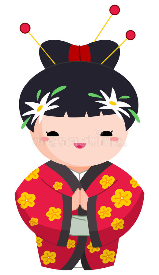Download Japanese girl stock vector. Image of hands, flower, childhood - 20589910
