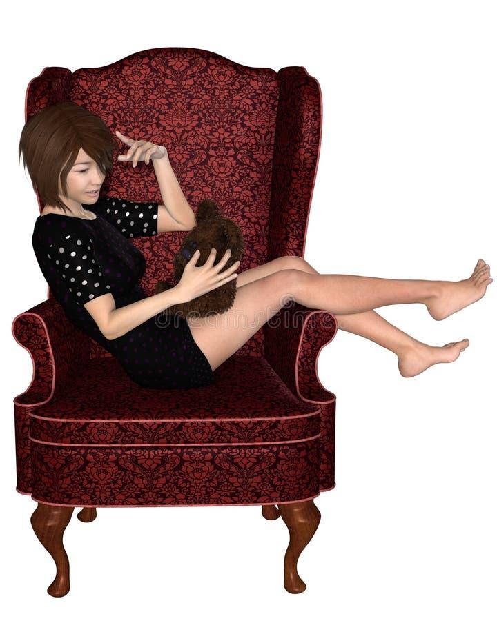 Japanese Girl In Armchair Royalty Free Stock Photos