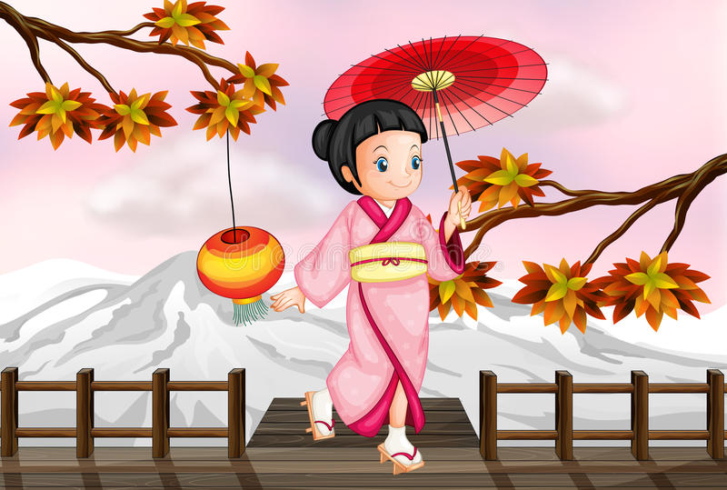 A japanese girl in an autumn view royalty free illustration