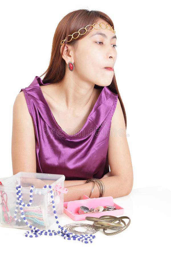 Download Japanese Girl Choosing Jewelry Stock Photo - Image: 18864618