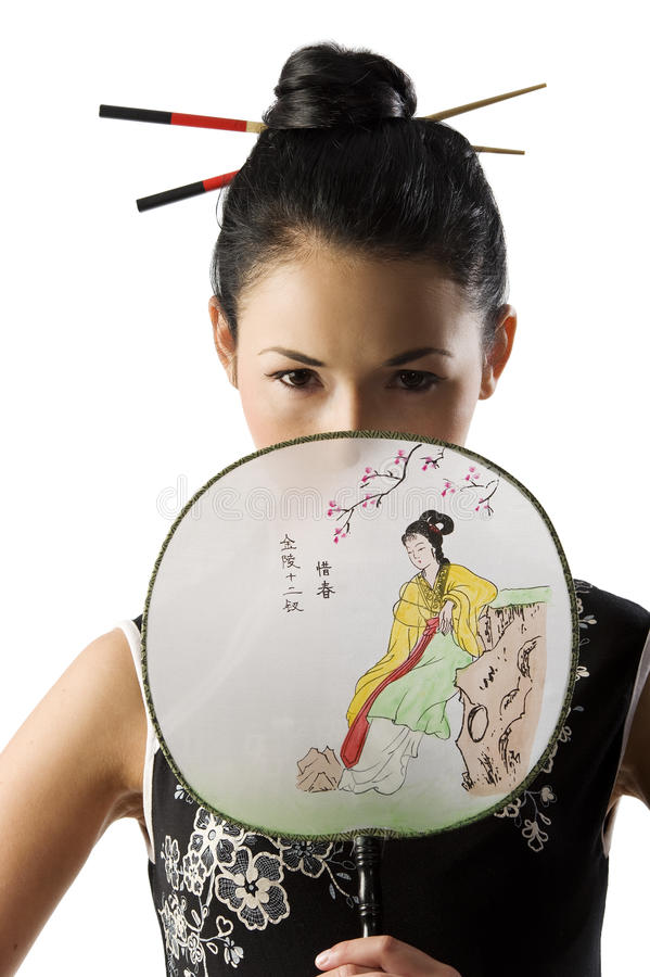Japanese girl in classical dress stock photography