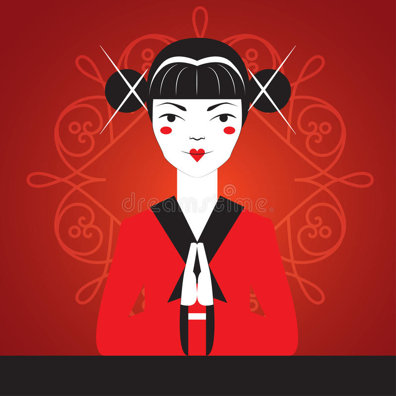 Japanese girl greets the visitor bowed, hands clasped palm to palm. vector illustration
