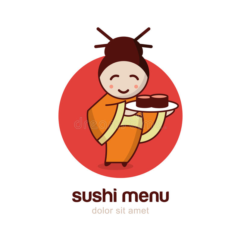 Japanese girl with sushi dish. Vector logo design template. vector illustration