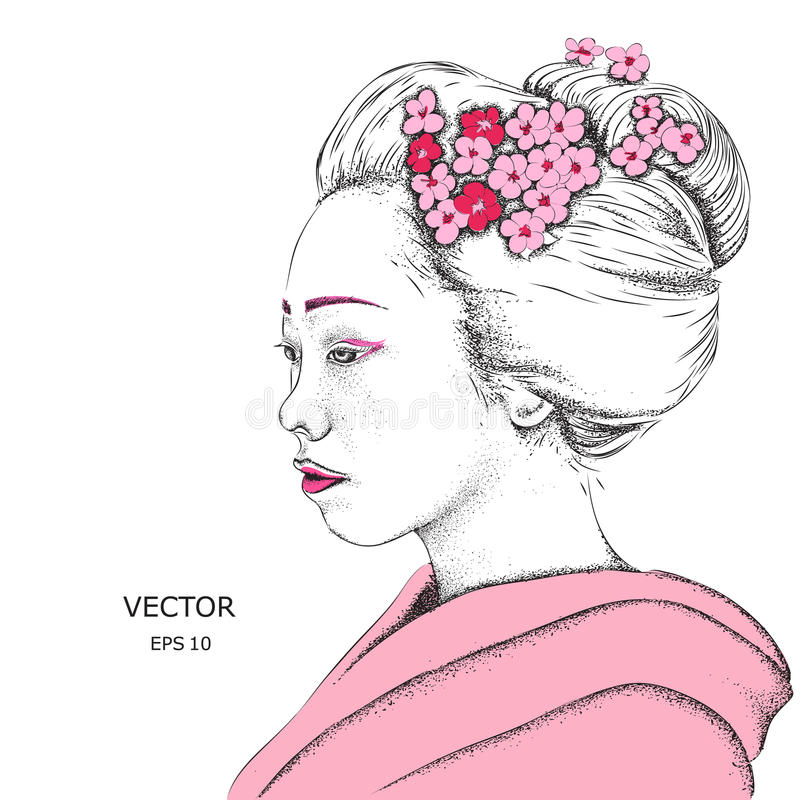 Japanese girl in traditional clothing. Geisha. Vector illustration. Japanese girl in traditional clothing. Geisha. Vector vector illustration