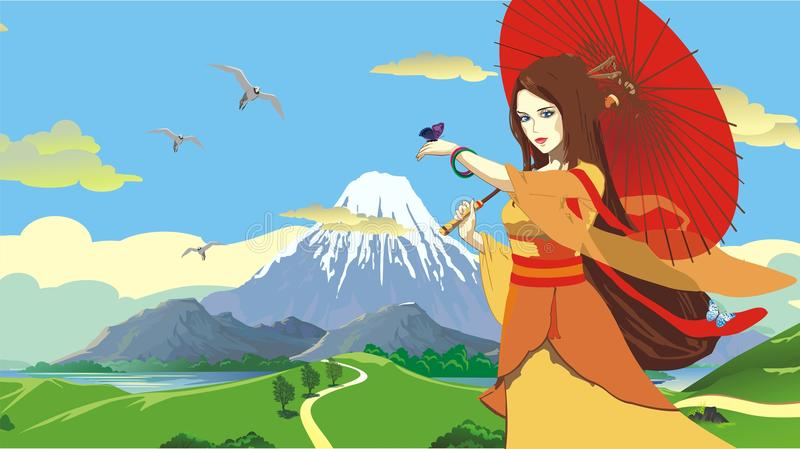 Japanese girl with umbrella on background of mount Fuji. vector illustration
