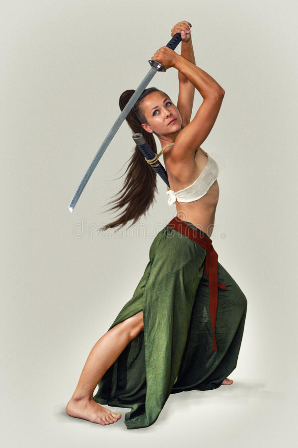 Japanese girl warrior. stock image