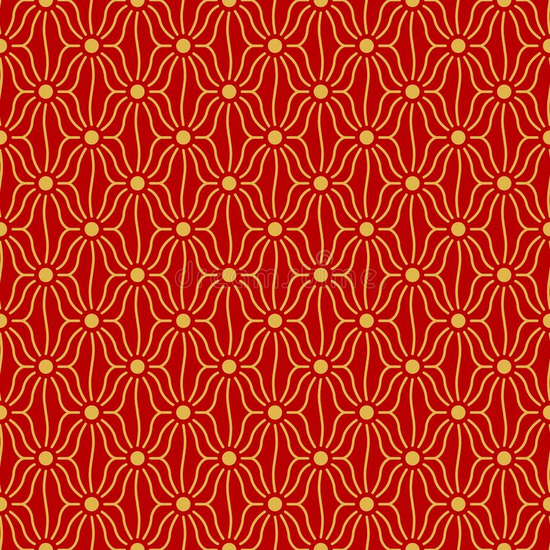 Japanese netting thatch pattern. Japanese gold netting thatch pattern on red background vector illustration
