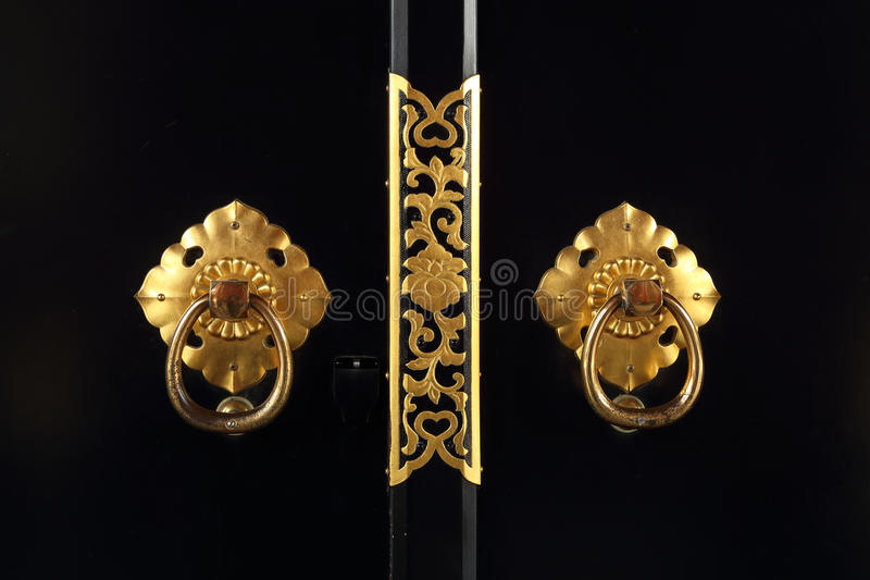 Japanese golden door handle stock photo