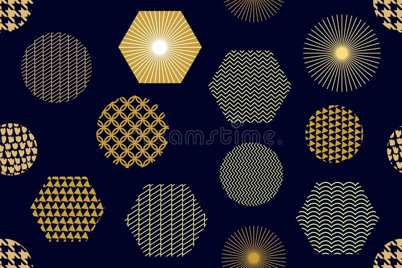 Japanese golden print with hexagons. royalty free illustration