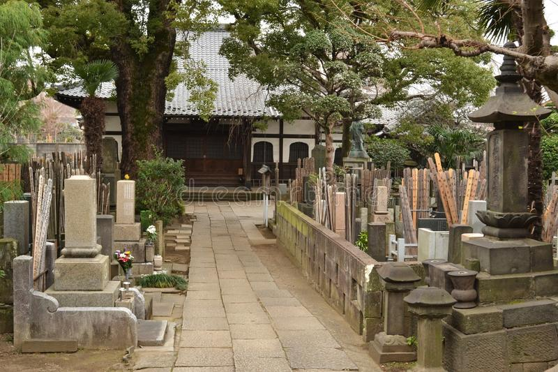 Japanese graves small cemetery Tokyo stock photos