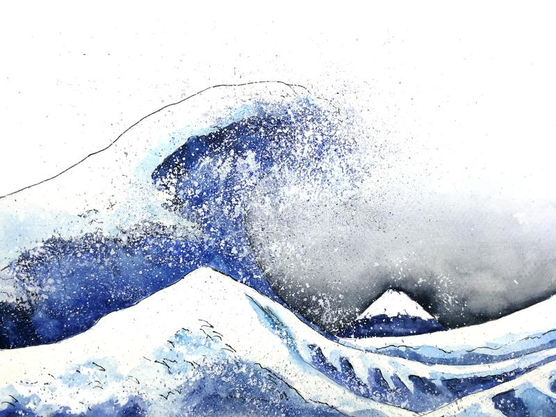 Japanese great wave art. watercolor style.hand drawn royalty free illustration
