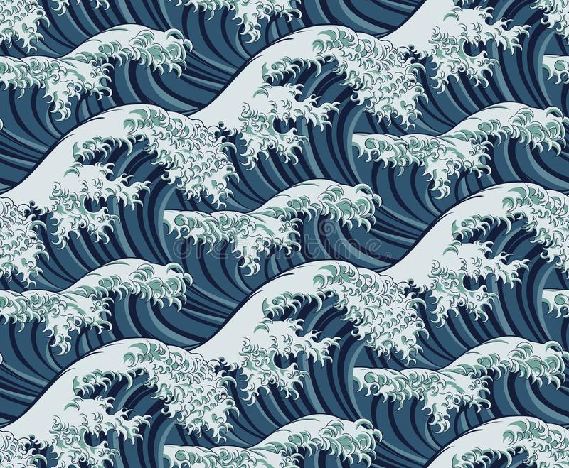 Japanese Great Wave Seamless Pattern Background stock illustration
