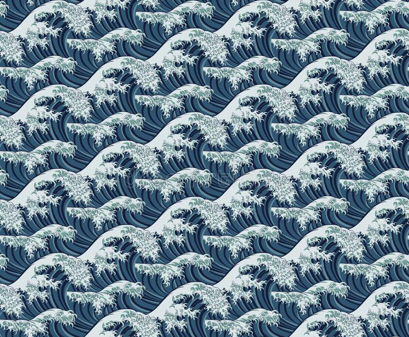 Wave Seamless Pattern Print stock illustration