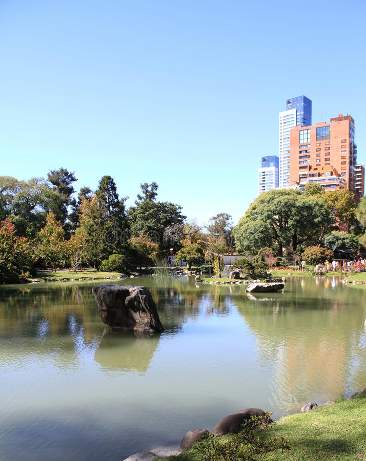 Japanese green garden in the modern city royalty free stock images