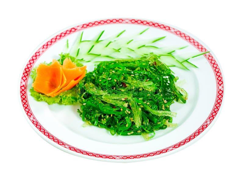 Japanese green seaweed salad menu isolated