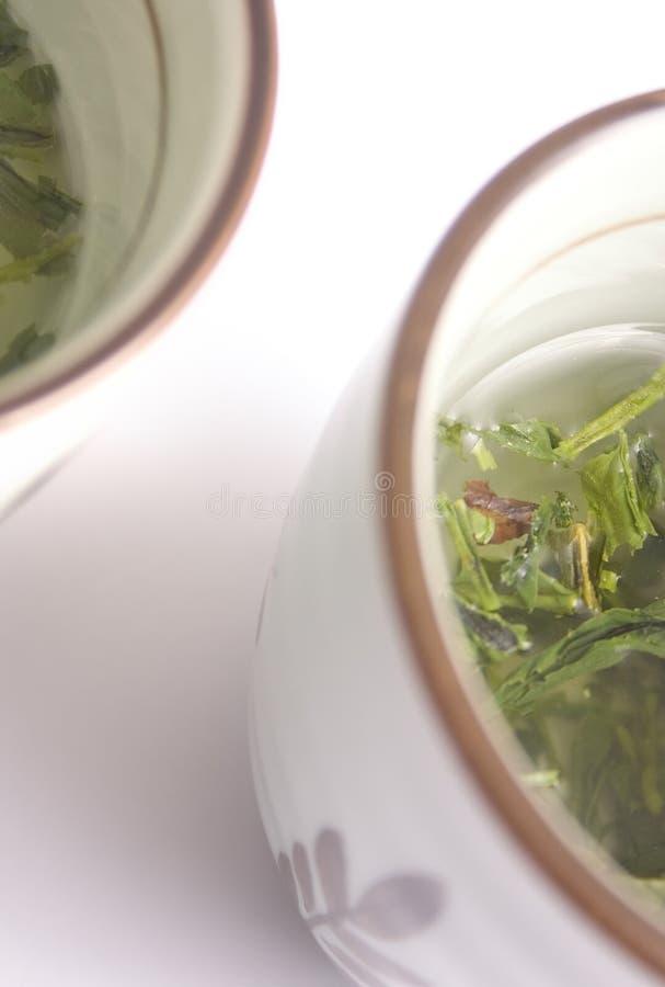 Japanese green tea cups stock photos