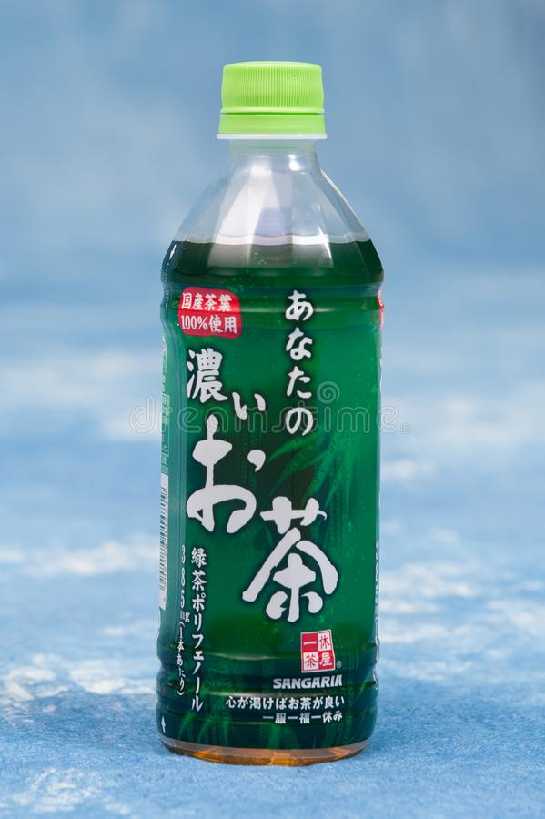 Japanese Green Tea Pet bottle around Yokohama, Japan. Many people drink green tea daily base in Japan.  In summer time, internatio royalty free stock photos