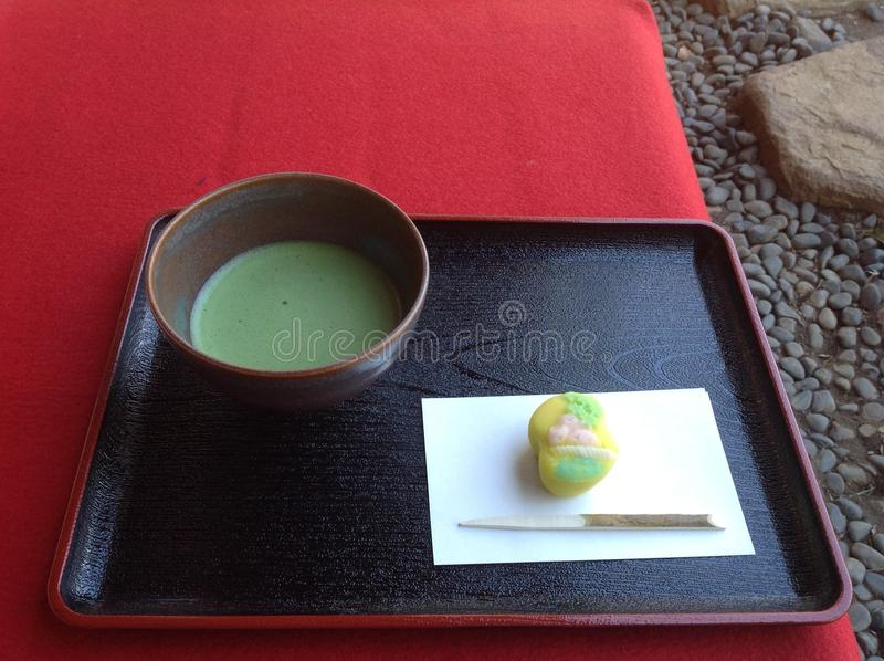 Japanese green tea and wagashi royalty free stock image