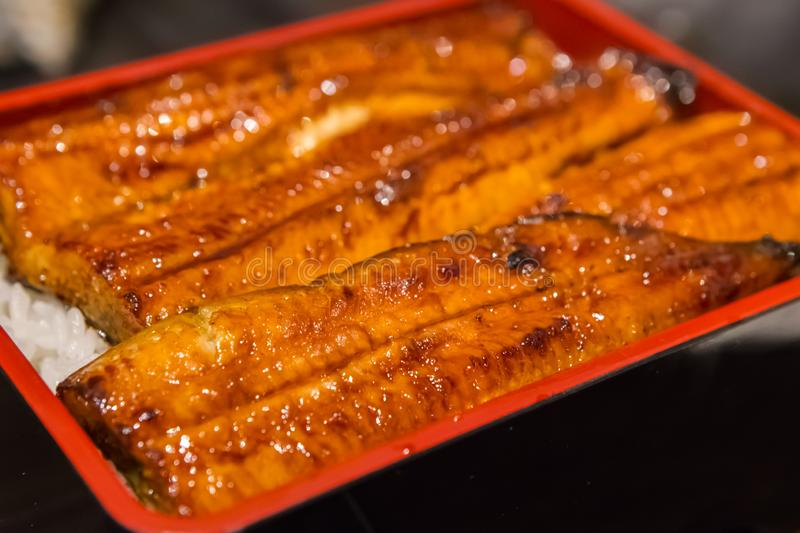 Japanese Grilled Eels on Rice stock photography