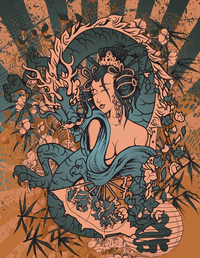 Download Japanese grunge background stock illustration. Image of dragon - 25170723
