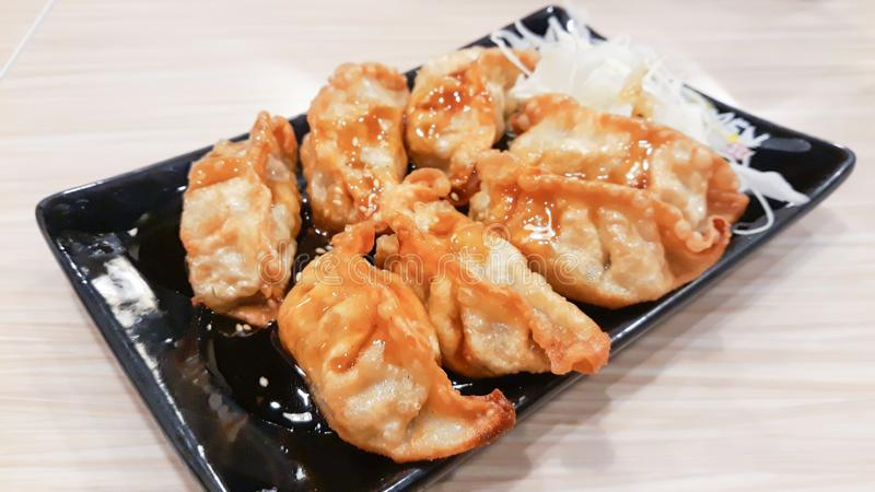 Japanese gyoza or dumplings snack stock image