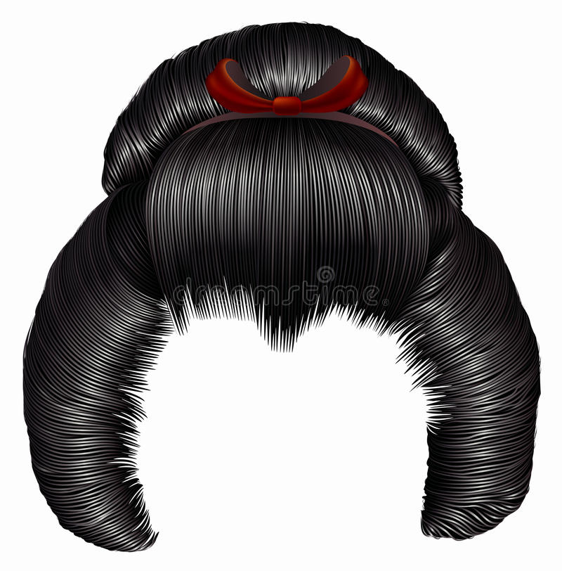 Japanese hairstile with barrette . hairs black brunette colors . women fashion beauty style . Realistic 3D stock illustration