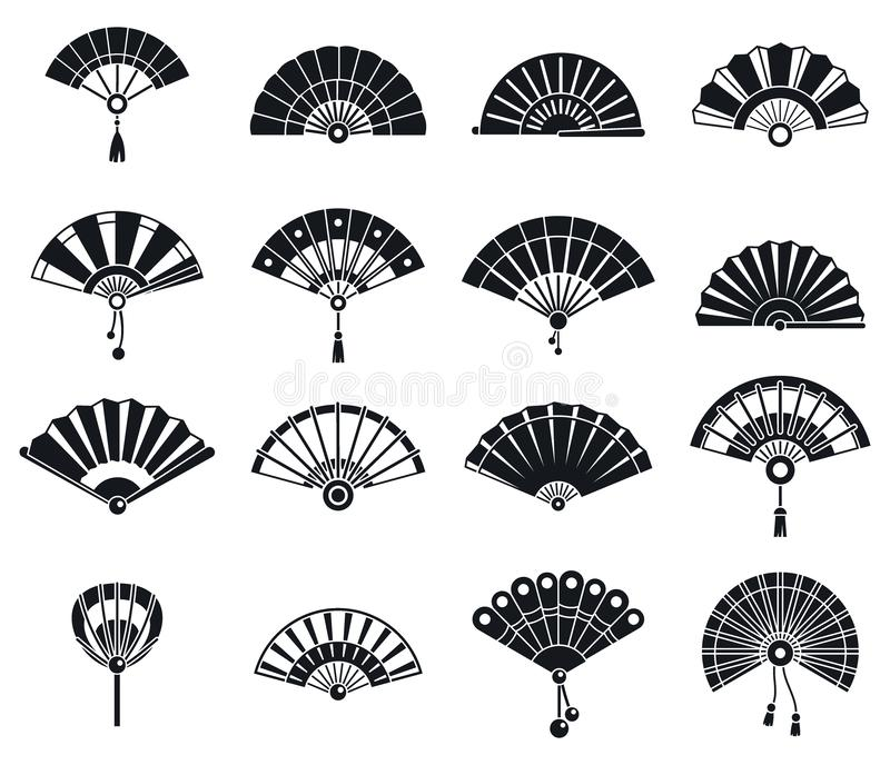 Japanese handheld fan icons set, simple style. Japanese handheld fan icons set. Simple set of japanese handheld fan vector icons for web design on white stock illustration