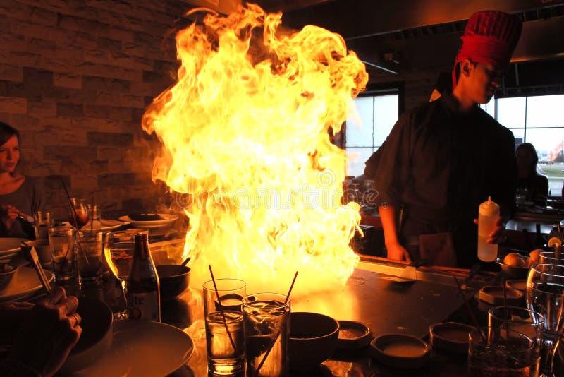 Japanese Hibachi Chef fire royalty free stock photo