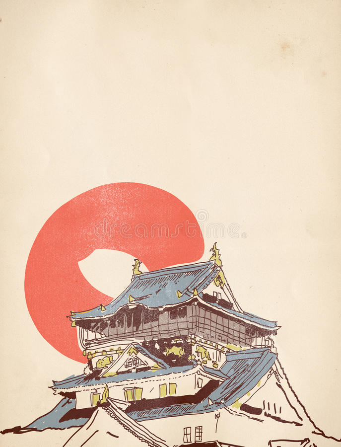 Free Japanese House Drawing Royalty Free Stock Photos - 34613318